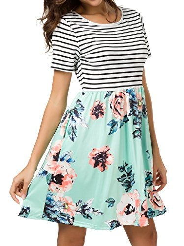 (AM CLOTHES Plus Size Summer Dresses for Women Short Sleeve Midi Dress Floral Casual Striped with Pockets Orange Floral Green 3X-Large)