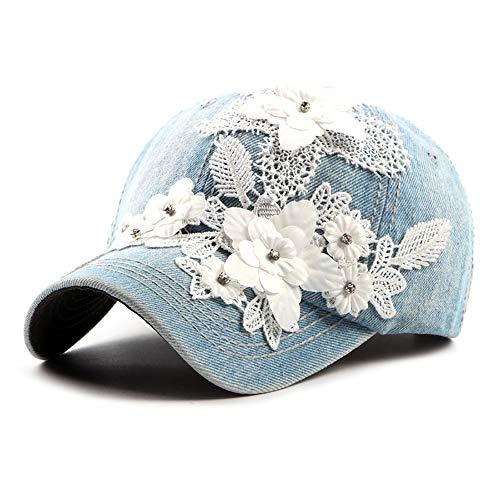 TONGDAUS Women Denim Peaked Cap Flower Applique Jean Adjustable Baseball Cap 6 Panel Floral Vintage Sun Hat (Color : 2, Size : Free Size) ()