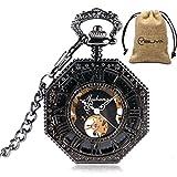 MILIYA Steampunk Octagon Skeleton Mechanical Hand Wind Men's Pocket Watch with Chain