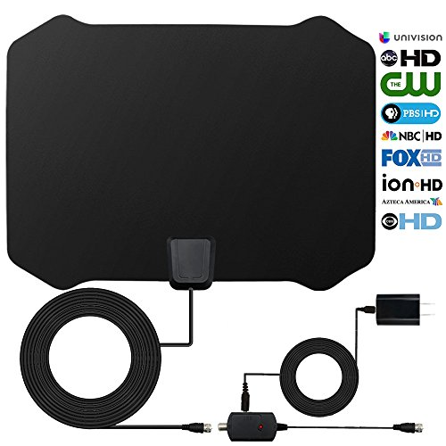 HDTV Antenna, Digital Freeview TV Antenna Amplified HD Signal Booster Reception Technology 60-80 Miles HDTV Antenna with Amplifier and Coaxial Cable (Black)