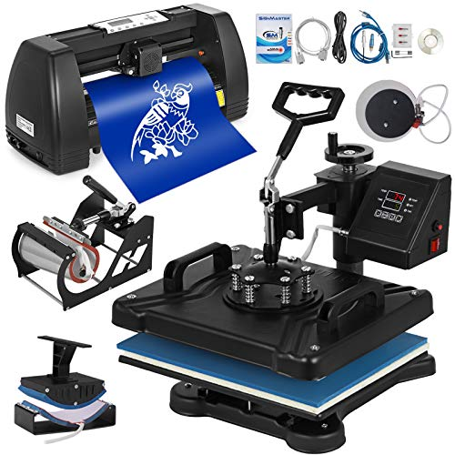 Mophorn 12x15 inch Heat Press Plotter Machine T-Shirt Combo Swing-Away Heat Presser Mug Hat Press 370mm Sign Making Machine(5in1 Presser+14 inch Vinyl Cutter Plotter)