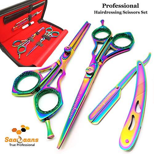 Saaqaans Professional Hair Cutting Scissors Set - Haircut Scissor for Barber/Hairdresser/Hair Salon + Thinning/Texture Hairdressing Shear for Beautician (Multi USA)