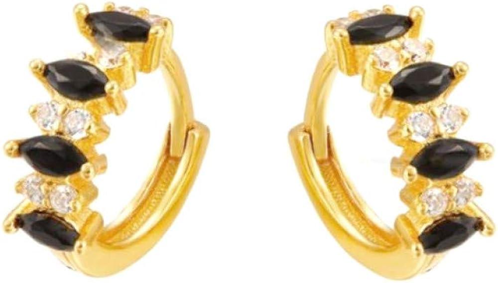 Pendientes de aro de cristales cuadrados para las mujeres niñas ojos de caballo Zircon plata de ley 925 pendientes de cartílago Pendientes