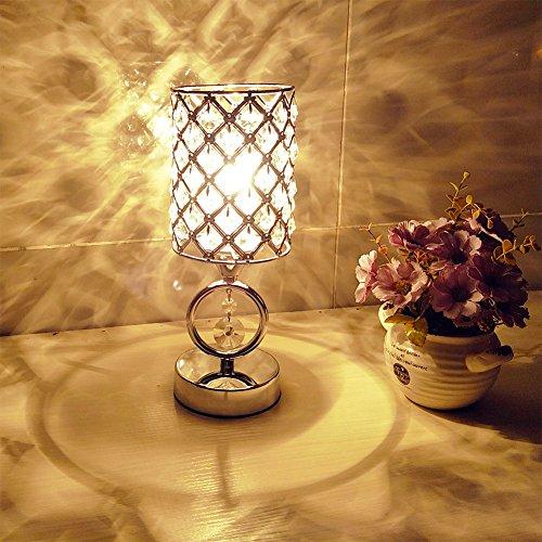 Hsyile KU300166 Modern Chrome Crystal Desk Lamps For Bedroom Nightstand,Study,Living Room Table Lamp (Chrome Glass Desk Lamp)