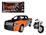 Maisto 2010 Ford F-150 STX Orange/Black/Silver 1/27 & 1/24 Harley Davidson FLSTF Fat Boy Motorcycle