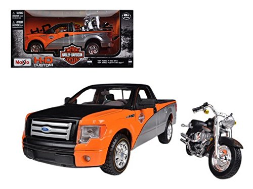2010 Ford F-150 STX Orange/Black/Silver 1/27 & 1/24 Harley Davidson FLSTF Fat Boy Motorcycle by Maisto 32187