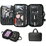 Pack Makeup Bag & Cosmetic Travelling Organizer. Nylon Multifunctional Waterproof Appropriate Capacity Storage Case Divided Compartments with Zipper Closure and Brush Holders