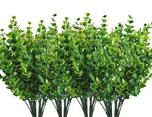 CoWalkers Arbustos artificiales sintética plástico hojas de eucalipto, hojas de eucalipto de plástico Falsas plantas...