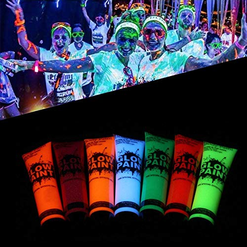 Body Paint, Womdee Blacklight Face Paint UV Neon Face Blacklight Reactive Safe, Glow in the Dark Washable Fluorescent for Raves, Fancy Dress, Parties 25ml -