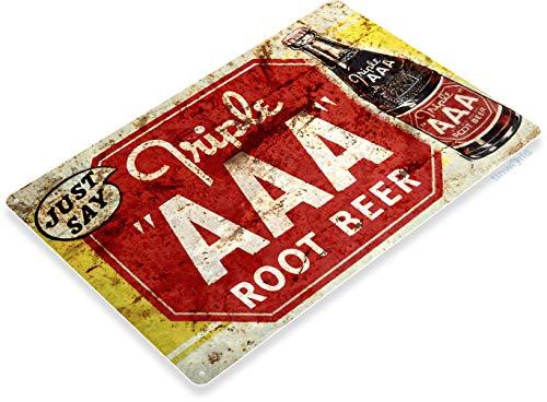 (Tinworld Tin Sign Triple AAA Root Beer Rustic Retro Soda Metal Sign Decor Kitchen Cottage Farm B391)