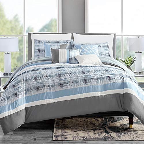 (GrandLinen 7 Piece Light Blue/Grey/White Abstract Bed in a Bag, Comforter Set King Size Bedding)