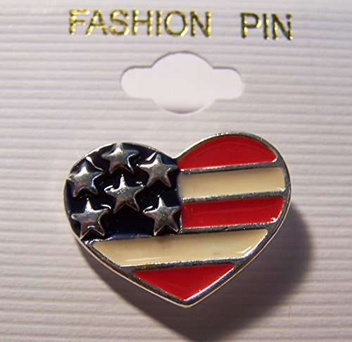 Hat Pin Shaped (12 Pieces ( 1 Dozen ) Bulk Lot Metal Heart Shaped American Flag Hat / Jacket Pin)