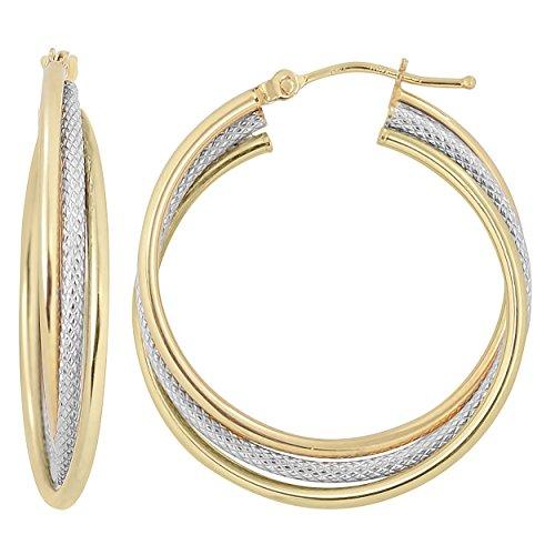 Kooljewelry 14k Two-tone Gold Overlapping Triple Hoop Earrings