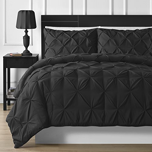 Double-Needle Durable Stitching Comfy Bedding 3-piece Pinch Pleat Comforter Set (King, Black)