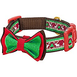 "Blueberry Pet 14 Patterns Christmas Santa Claus's Reindeer Dog Collar with Detachable Bow Tie, Large, Neck 18""-26"", Adjustable Collars for Dogs"