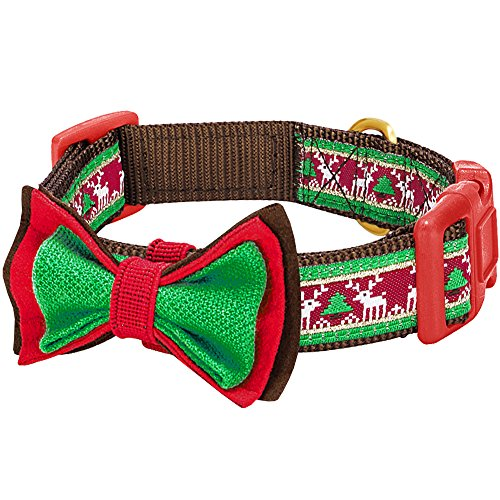 Collar Dog Ribbon Christmas Pet (Blueberry Pet 14 Patterns Christmas Santa Claus's Reindeer Dog Collar with Detachable Bow Tie, Large, Neck 18
