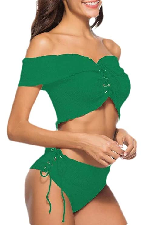 Go First Traje de ba/ño para Mujer Traje de ba/ño de tri/ángulo Atractivo Traje de ba/ño de Dos Piezas Conjunto de Bikini Color : Amarillo, Size : Small