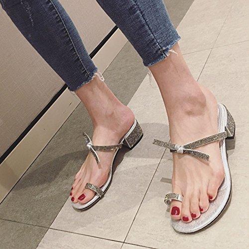 Tacon Y silvery HBDLH Punta Arco Mujer Un con Dedo Zapatos Alto Zapato Una Diamante Punta Un De Fashion Punta Zapatilla De de Una Un Sexy De q44nOCwB