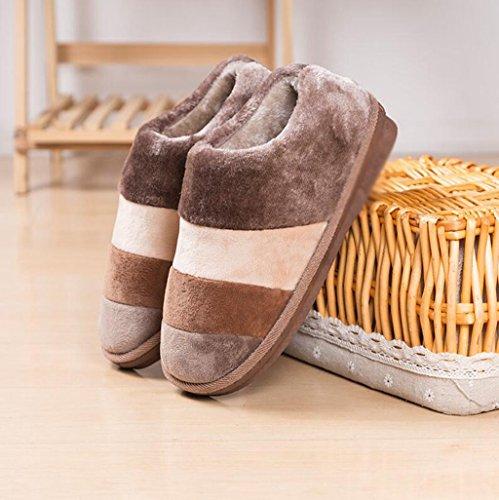 d'intérieur chaussures d'hiver la fin à maison de peluche E femmes les hommes en coton les épais chaussures Longless maison avec de glissement pantoufles et en la la qt1TxUP