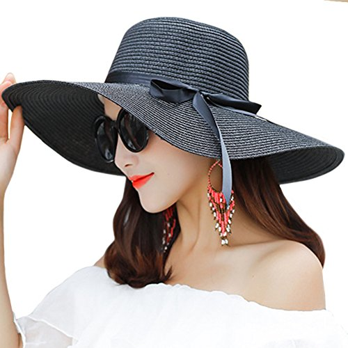 Itopfox Women's Big Brim Sun Hat Floppy Foldable Bowknot Straw Hat Summer Beach Hat Black (Pool Women)