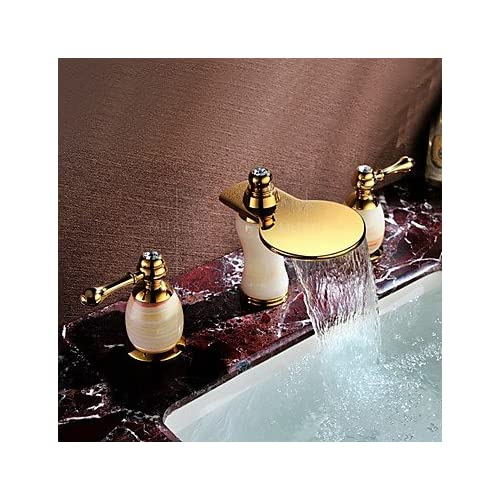 W&P Universal double bathroom sink faucets in PVD titanium deck three-hole installation 30%OFF