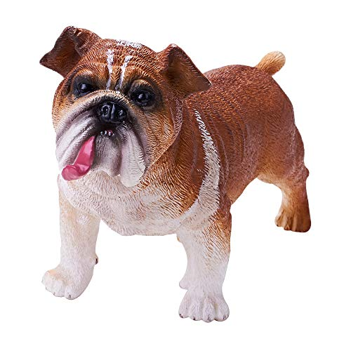 (RECUR Bulldog Figurine Statue for Dog Lovers, Realistic Puppy Model Dog Sculpture - Decorative Dog Décor for Yard, Garden , Home or Office , Ideal Gift Collectible for Collectors Kids Toys)