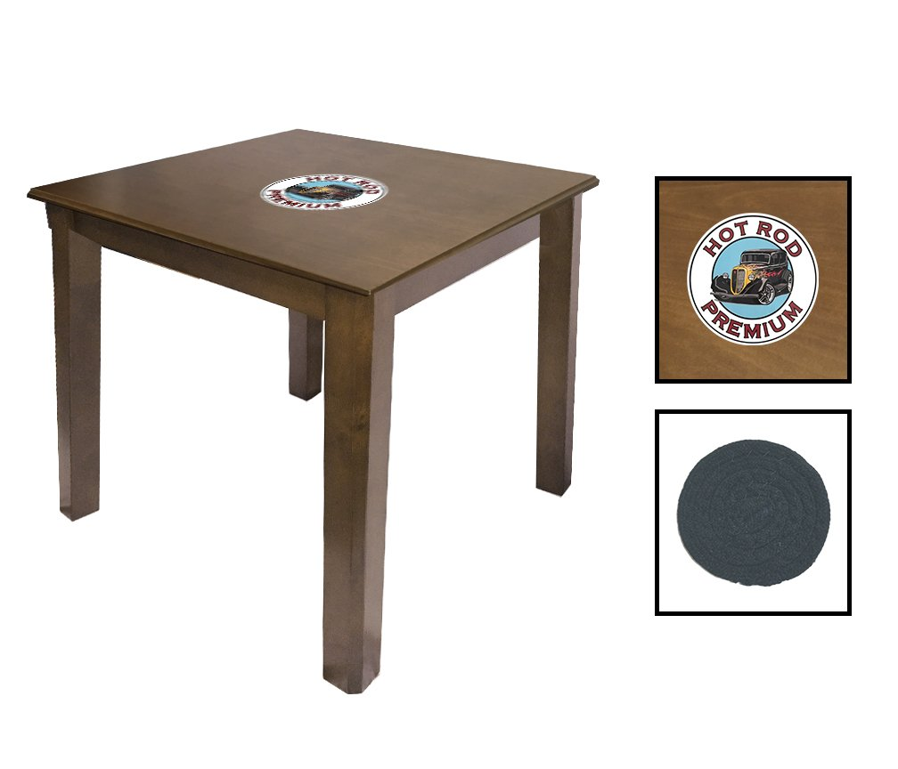 Walnut Finish End Table Featuring the Choice of Your Favorite Vintage Gas Theme Logo - FREE Coaster Included! (Hot Rod Premium)