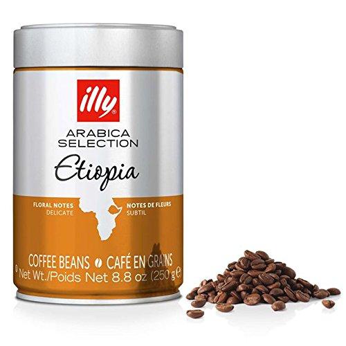 Illy Coffee, Whole Bean, EtiopiaArabica Selection Single Origin Ethiopia, 100% Arabica Bean Premium Gourmet Bold Delicate Aromaric Roast, Floral Jasmine Notes; Pressurized Fresh 8.8 Ounce Tin