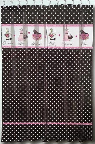 Glamour Girl Black & White Polka Dot Fabric Shower Curtain w/ Pink ...