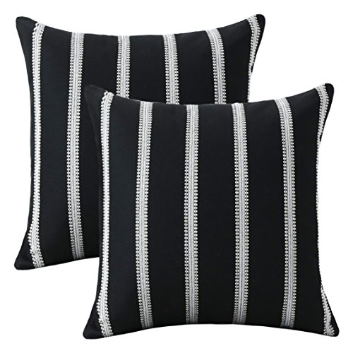 HOME BRILLIANT Classic Black White Stripes Lace Throw Pillow Covers Decorative Euro Shams, 2 Packs, 24x24 inches(60cm), (Classic White 20 Piece)