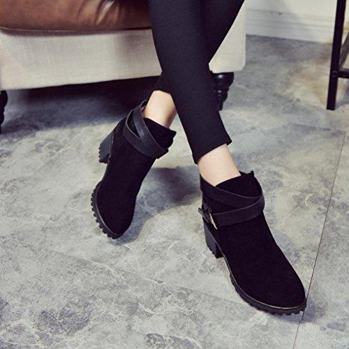 Zapatos interiores, Amlaiworld Tacón Bajo Hebilla De Cinturón Botas De Martin Negro