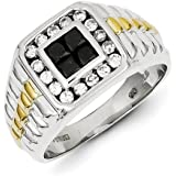 Sterling Silver and Gold Plated Black And White Rough Diamond Square Mens Ring - Ring Size Options Range: R to V