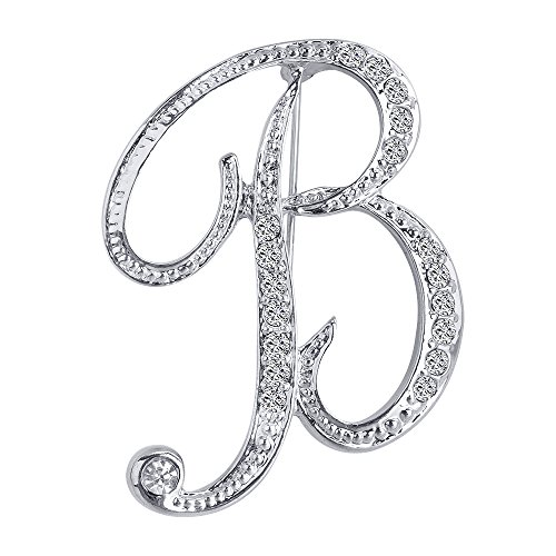 Liasun 26 Letters Brooches Silver Plated Metal Broaches Pins-Clear Crystal Initial Breastpin (1pcs-B)
