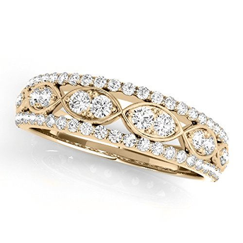 MauliJewels 0.50 Ctw. Diamond Delicate Wedding Band in 14K Yellow Gold (1 Carat Diamond Ring 14k Yellow Gold)