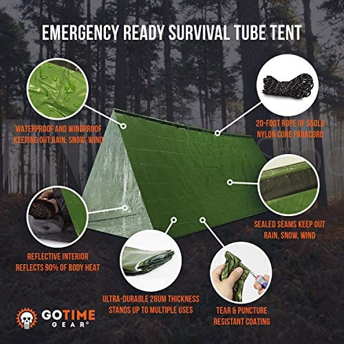 Go Time Gear Life Tent Emergency Survival Shelter – 2 Person Emergency Tent – Use As Survival Tent, Emergency Shelter, Tube Tent, Survival Tarp - Includes Survival Whistle & Paracord 2