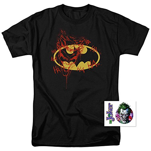 Batman Logo Joker Graffiti DC Comics T Shirt (X-Large)