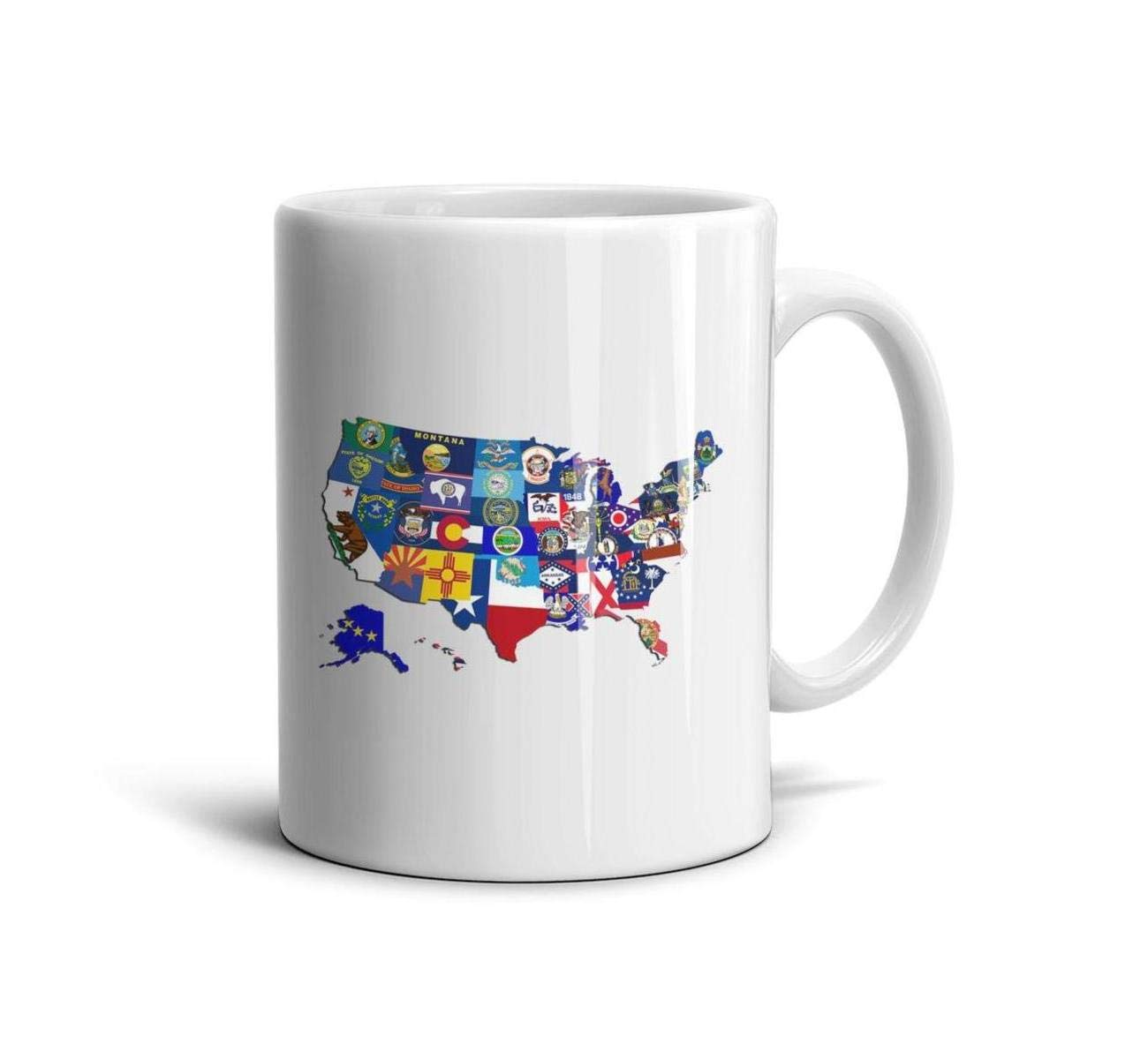 Shirtjkdsaa Funny Coffee Mug State Map of The United States Flags Mosaic Unique White Ceramic Souvenir Reusable Travel Mugs