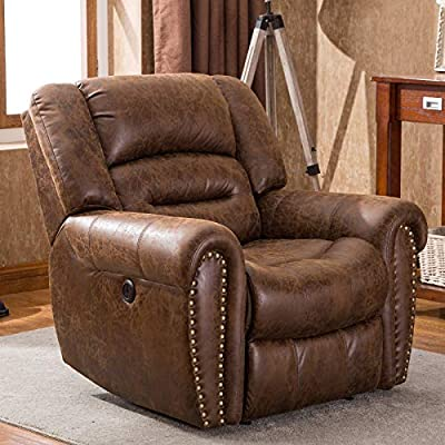 ANJ Electric Recliner Chair W/Breathable Bonded Leather, Classic Single Sofa Home Theater Recliner Seating W/USB Port