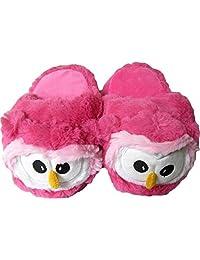 Kids/Childrens Non-Slip Cute Pink Owl Plush Animal Character Slippers