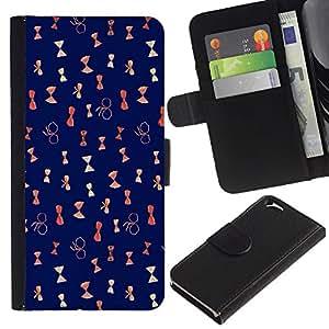 KLONGSHOP // Tirón de la caja Cartera de cuero con ranuras para tarjetas - patrón arqueamiento azul reloj de arena - Apple Iphone 6 //