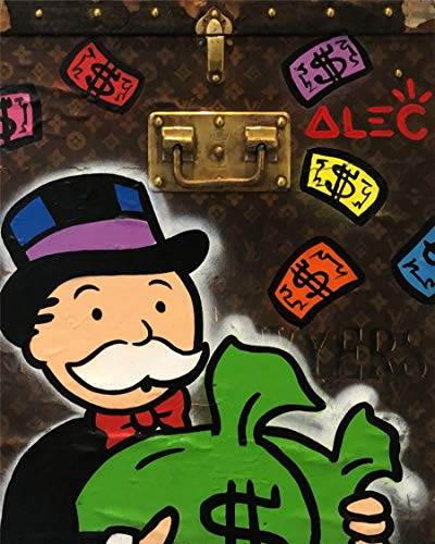 (Artcgc Alec Monopoly Box Wall Art Home Wall Decorations for Bedroom Living Room Oil Paintings Canvas Prints 2 Sizes-108 (Framed,18x24inch))