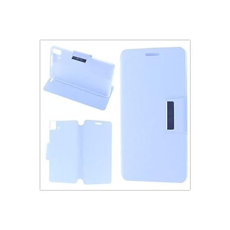 MISEMIYA ® Funda BQ AQUARIS E4.5/FNAC PHABLET 2 4.5 - Funda + Protector Cristal Templado, Blanco