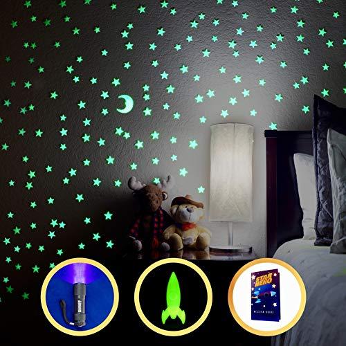 Glow in The Dark Stars, 200 stars, with bonus Moon, 3D space rocket, UV