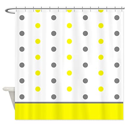 Amazon.com: CafePress - Grey and Yellow Polka Dots Shower Curtain ...