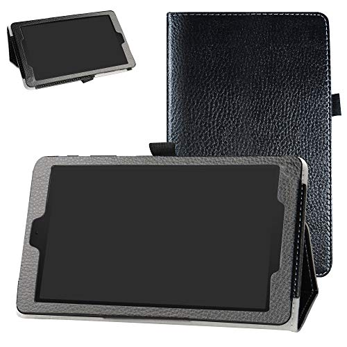 Alcatel 3T 8 Inch Tablet Case,Bige PU Leather Folio 2-Folding Stand Cover for T-Mobile Alcatel 3T 8 Inch Tablet(2018),Black