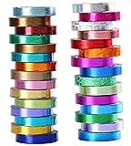 #9: 30 Rolls Washi Tape,Multi-Colored & Gold Metallic Washi Masking Tape - 8mm x 4m Rainbow Paper Tape for DIY Crafts (mix)