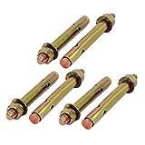 uxcell M12x120mm Zinc Plated Sleeve Anchor Expansion Bolt Bronze Tone 6pcs