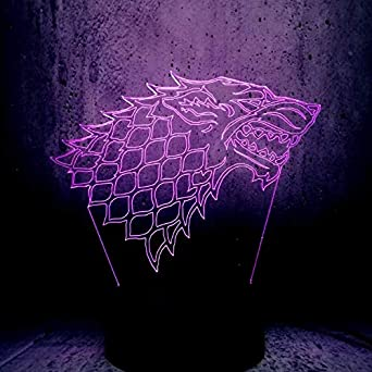 Thrones Lampe 3d Famille Stark Of Fans Game Super Led Wolf Totem On80vmNywP