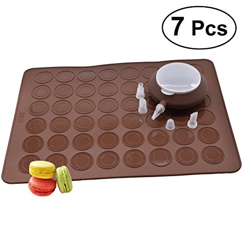BESTOMZ 7 Pcs/Set 48-Capacity Nonstick Macaron Silicone Baking Mats Cakes Mould Includes Trays Bakeware Decorating Pen Icing Tips Nozzles-cup cake muffin pastry cream icing by BESTOMZ