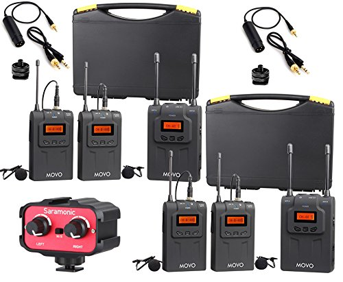 Movo Wireless UHF Quad Lavalier System with 4 Bodypack Transmitters, 2 Portable Receivers, and 2-Channel Audio Mixer for DSLR Cameras & (Dual Bodypack Wireless System)